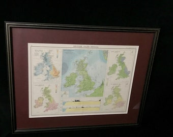 """Vintage """"The Citizen's Atlas"""" Map of The British Isles (ART10109)"""