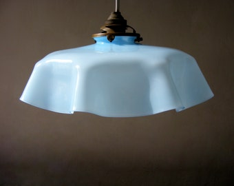 Beautiful French Antique sky blue Opaline Lamp, Ceiling Light,from the 1930s.