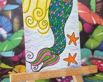 ORIGINAL ACEO Artwork, Mermaid, Miniature Art, Made in USA, City, Galaxy, by Rowan Elisa, Mermaid Drawing, Collectible Art, Colorful Art