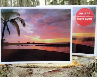 Hawaiian Sunset on the Beach - Glossy Greeting Card - Set of 10