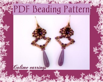 DIY Beading pattern Calime earrings / PDF tutorial with detailed instructions, images and diagrams, peyote stitch with superduos, beads