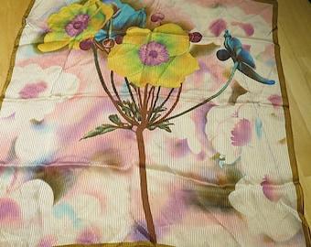 Small Square Vintage Silk Scarf  21 x 22  #161