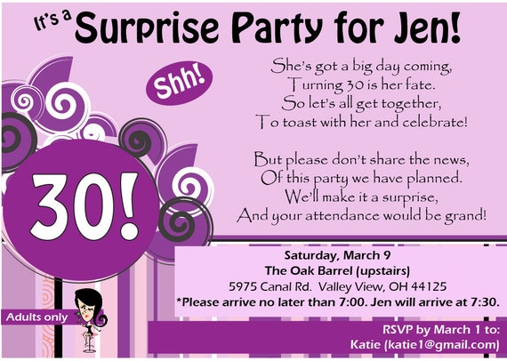 Items similar to 30th Birthday Surprise Party Invitation with Poem