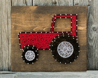 Tractor String Art - Red Tractor Sign - Nursery - Farm - Wood - Nails - String - Gift - Choose Your Color - Made To Order