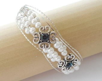 Pearls and Sapphires Sterling Silver Bracelet
