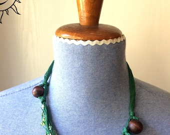 LAURASOLELUNA-set necklace and bracelet with large beads of wood and glass-single piece handmade