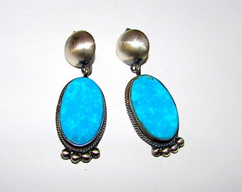 Vintage Native American Navajo Sterling Silver Kingman Mine Turquoise Pierced Dangle Statement  Earrings