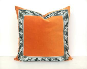 Orange Pillow Cover with Navy and Off White Greek Key Trim - Orange Velvet PIllow