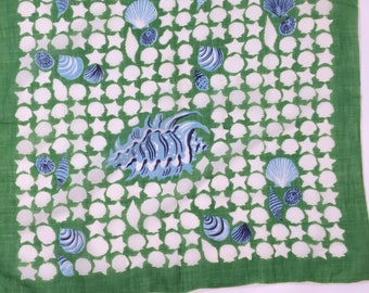 """Vintage Green and White with Blue Shells. 19"""" by 19 1/2"""""""