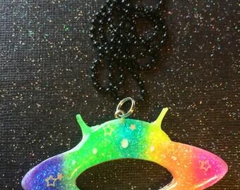 UFO Necklace / Cute Outer Space Neon Rainbow Jewelry / Creepy Cute Pastel Goth Nu Goth Alt Alternative Horror / Paranormal Strange Unusual
