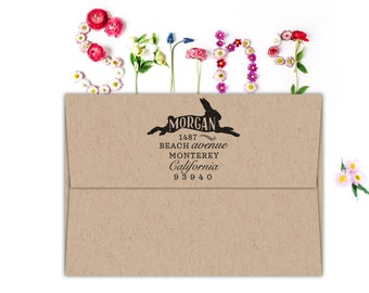 Return address stamp, Cute Custom Address Stamp With Bunny, Cute Customizable Easter Gift, Self Inking Stamp, Birthday Gift,Housewarimg Gift