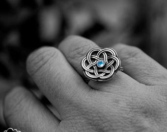 Sterling silver Celtic Knot ring with Moonstone