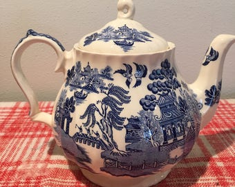 Beautiful Blue and Cream Tea Pot - made in England
