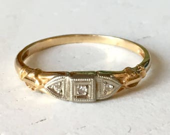 Pretty Detail Vintage 14k White and Yellow Gold Wedding Band - Size 5