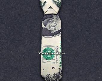 DRESS SHIRT TIE Money Origami Dollar Bill Clothes Cash Sculptors Bank Note Handmade