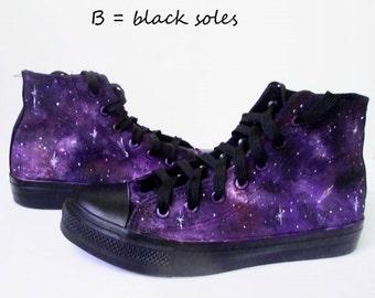 Custom handpainted purple galaxy sneakers, personalized shoes, galaxy converse, galaxy vans, purple galaxy, custom galaxy, handpainted shoes