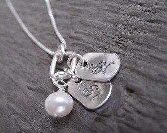 Personalized Hand Stamped Sterling Silver Necklace Mini Monogram Tags