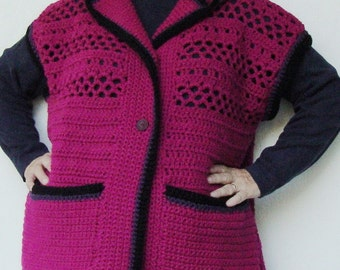 Women's Vest, Hooded Vest, Vests, Sweater Vests, Crochet Sweater, Magenta Sweater, Plus Size Clothing, Available in Plus size XL/1X