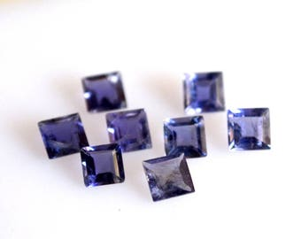 Natural Blue Iolite square cut faceted 3mm loose gemstone -high quality gemstone
