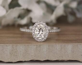 Oval 7x5mm Moissanite Brilliant Engagement Ring, Wedding Ring, Bridal Ring, Moissanite Forever Classic Ring, Diamond Halo Ring, Promise Ring