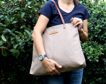 Genuine Leather Straps, Canvas Handbag, Large Shoulder bag, Diaper bag, Hobo Bag, Light Brown, ZIPPER CLOSURE, laptop bag, everyday bag