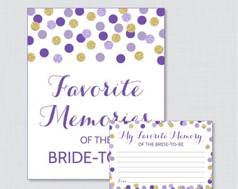 Favorite Memories of the Bride To Be Activity - Printable Purple and Gold Glitter Shower Game - Bridal Shower Memory Activity - 0001-R