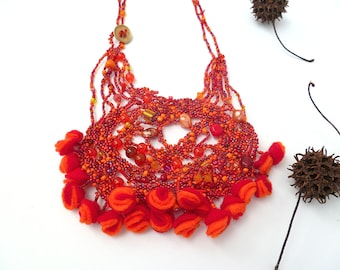 SALE Red beaded necklace free form peyote stitch wearable art beadwork, statement necklace, unique design, felt and beads, Scarlet summer II