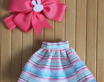 Skirt and Headband Set for Neo Blythe - Pink Turquoise Striped