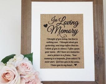 Memory Table Sign - Wedding Burlap - Wedding Remembrance - Memorial Table Sign - Remembrance Table - In Loving Memory - Wedding Memory Table