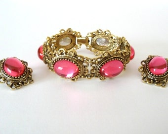 Pink Glass Cabochon Bracelet and Earrings Set Vintage Demi Parure from TreasuresOfGrace