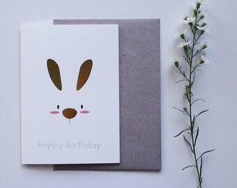 happy bunny birthday | birthday card | bunny | rabbit | happy birthday | gold foil