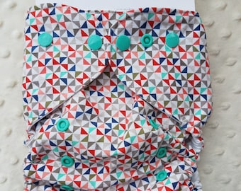 One Size, cloth diaper cover, cotton over PUL with AI2 option, pinwheels, triangles