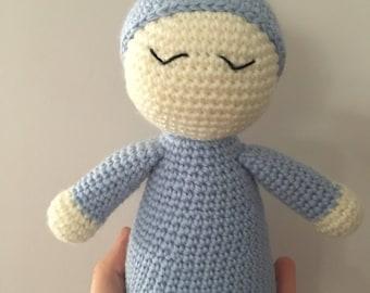 Crochet sleepy doll, crochet cuddle doll, doll