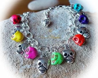 Skull Charm Bracelet, Goth Charm Bracelet, Rainbow Bracelet, Gothic Jewellery, Howlite Skulls, Silver Skull Charms
