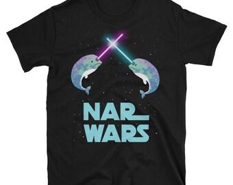 Men's (unisex) - Nar Wars Star Fighting Light Narwhale Short-Sleeve Unisex T-Shirt