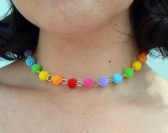 Rainbow Pom Pom Choker