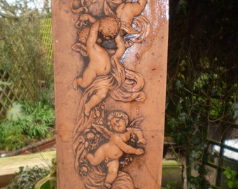 Gorgeous Romantic Vintage French Art Deco Chreubs Garden courtyard wall plaque,Terracotta.