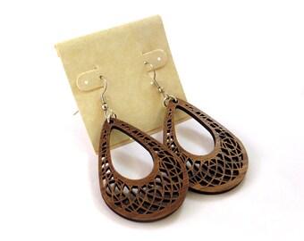 Teardrop Dreamcatcher Hook Earrings in Walnut - Small - Sustainably Harvested Dangle Earrings