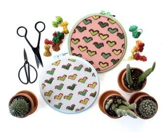 Cactus Love Contemporary Embroidery Pattern PDF by Sarah K. Benning - #skbdiy