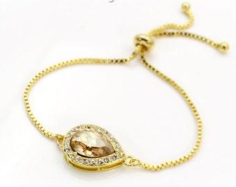 Wedding Bracelet 14K Gold Swarovski Golden Shadow Crystal Bracelet Bridesmaids gift Bridal Bracelet Wedding Bracelet Teardrop Bracelet