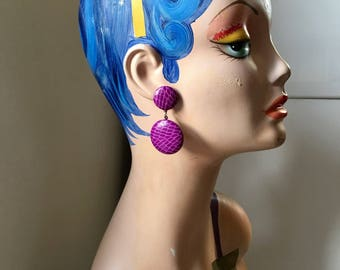 Vintage 1980s Purple Leather Statement Earrings