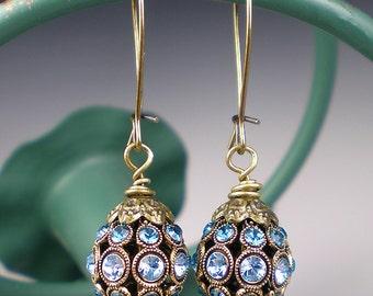 Aqua Rhinestone Drop Earrings, Filigree Oxidized Brass Earrings, Aqua Rhinestone Jewelry, Vintage Inspired, Gift for Her