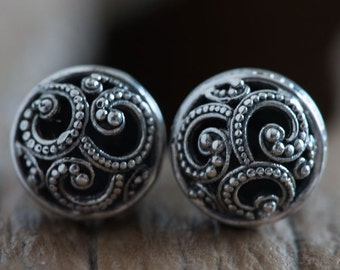 Balinese Traditional Solid Silver Earrings, Traditional Stud Earrings, Balinese Style Earrings, 925 Sterling Silver