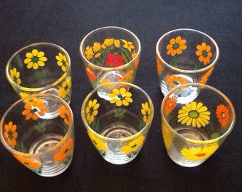 Vintage Set Of 6 Daisy Flower Drinking Glasses/Juice Glasses