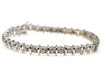 SALE! 14k White gold diamond bracelet single strand