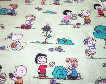Peanuts Gang Fabric Easter Egg Hunt Fat Quarter New BTFQ