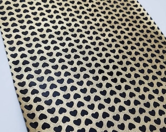 Faux Leather GOLD w/BLACK HEARTS sheet,8x11 faux leather,gold vegan leather, black faux leather,fake leather,faux leather fabric vinyl