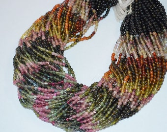 3 mm Multi Tourmaline Smooth Round ,14 inch Strand