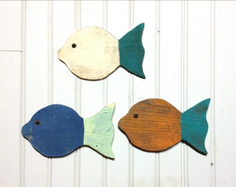 "Painted School of Fish Wall Decor made with reclaimed wood - set of 3 - 9"" fish - great for a beach house or ocean decor"