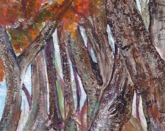 Enchanted Wood original abstract acrylic canvas painting